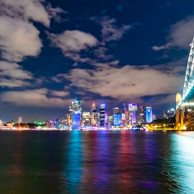 """Sydney Harbour Bridge, Opera House and Circular Quay at night"" stock image"