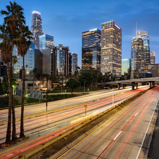 """""""Los Angeles cityscape at dawn, United States"""" stock image"""