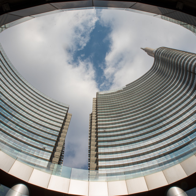 """""""Bottom view of glazed skyscrapers"""" stock image"""