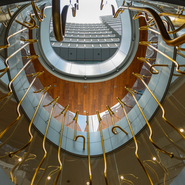 """""""Bottom view of the interior of a contemporary building"""" stock image"""