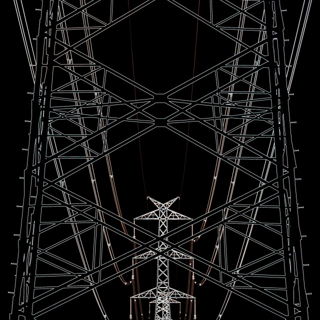 """""""Abstract high voltage transmission line against black sky"""" stock image"""