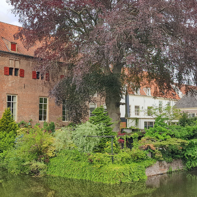 """Historical house of Tinnenburg, canal and lots of greens in Amersfoort"" stock image"