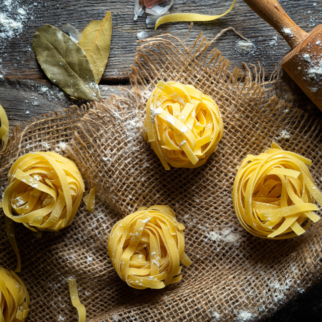 """Tagliatelle pasta and bay leaves"" stock image"