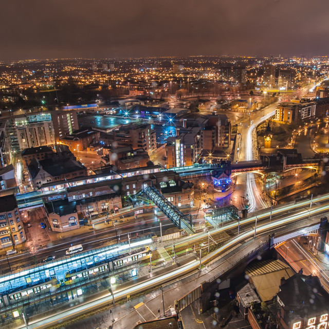 """""""Manchester at Night"""" stock image"""