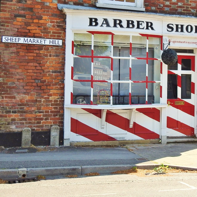 """""""Locked for Haircuts."""" stock image"""