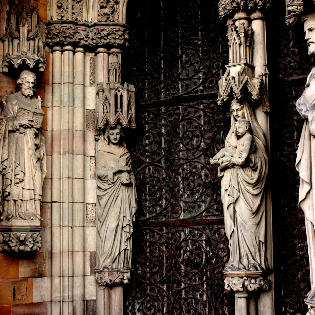 """Statues on the west front of Lichfield Cathedral"" stock image"