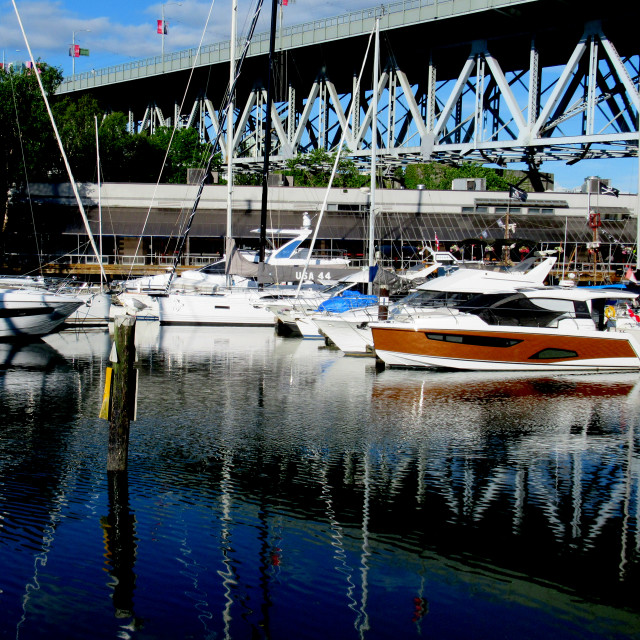 """Boats on False Creek by Granville Island in Vancouver."" stock image"