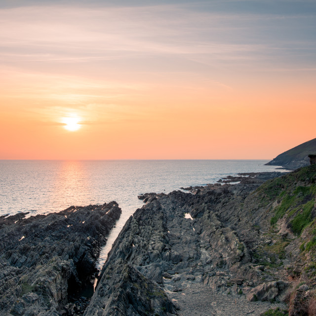 """Sunset from Croyde, Devon, England"" stock image"