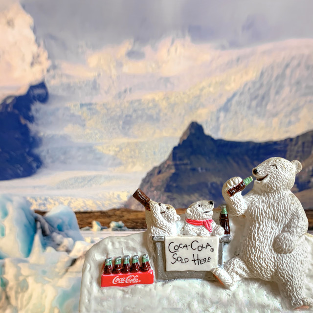 """Coke Polar Bears Magnet"" stock image"