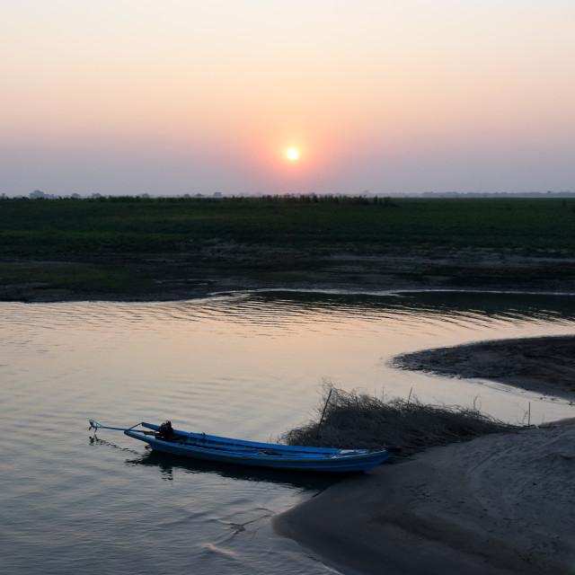 """Ayeyarawady Sunset"" stock image"