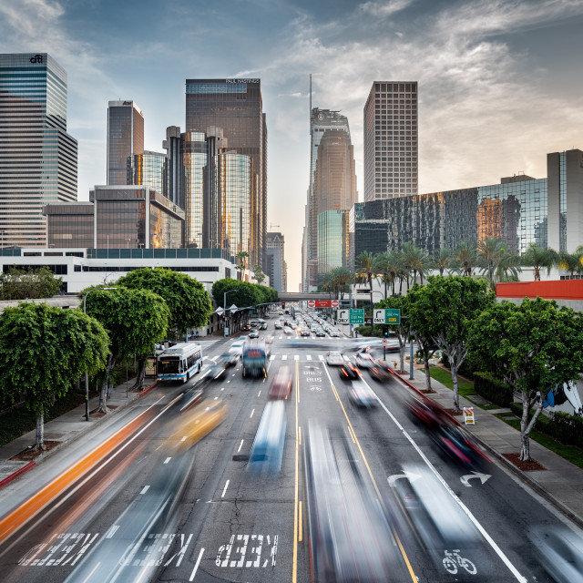 """Los Angeles cityscape at sunset, United States"" stock image"