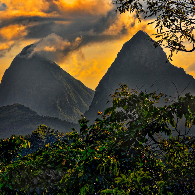 """The Pitons"" stock image"