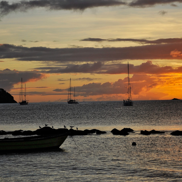 """A St Lucia Sunset"" stock image"