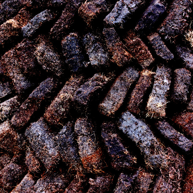"""""""Peat in a mound on the Isle of Lewis"""" stock image"""