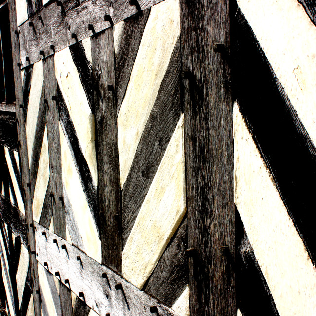 """""""Black and White Tudor patterns on an Elizabethan building"""" stock image"""