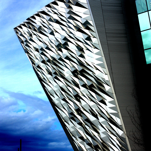 """Exterior of the Titanic Centre in East Belfast"" stock image"