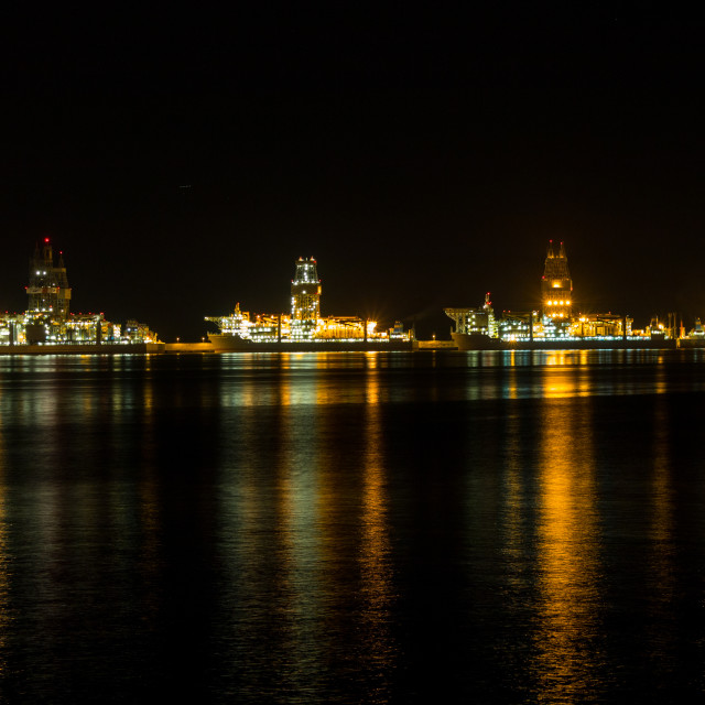 """""""A night in the harbour"""" stock image"""