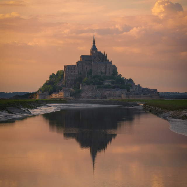 """""""The Mont Saint Michel and its bay at the sunset. Normandy, France"""" stock image"""