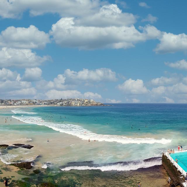 """Sunbathers and swimmers on the Bondi Beach in Sydney, Australia"" stock image"