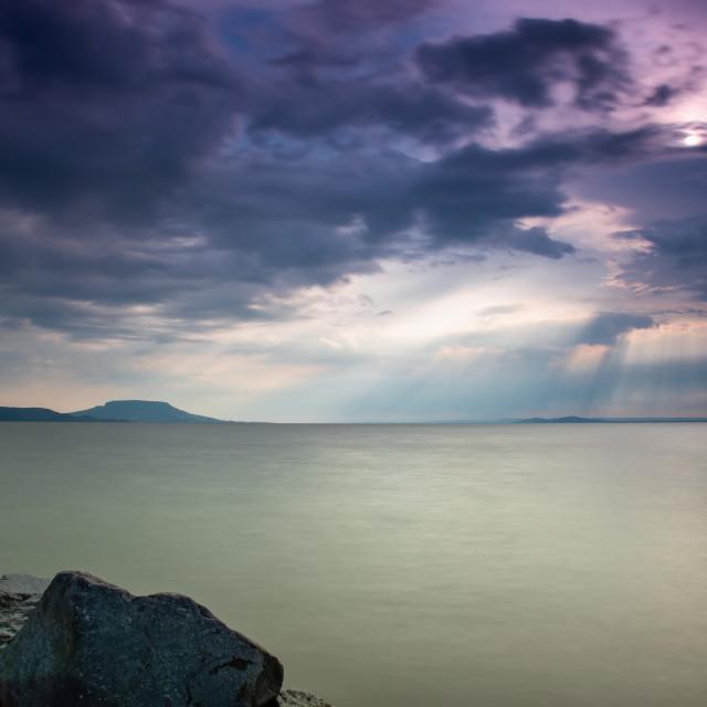 """Beautiful colorful sunrise, lake Balaton in Hungary"" stock image"