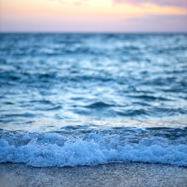 """Blue ocean picture in a Spanish coastal, in Costa Brava"" stock image"