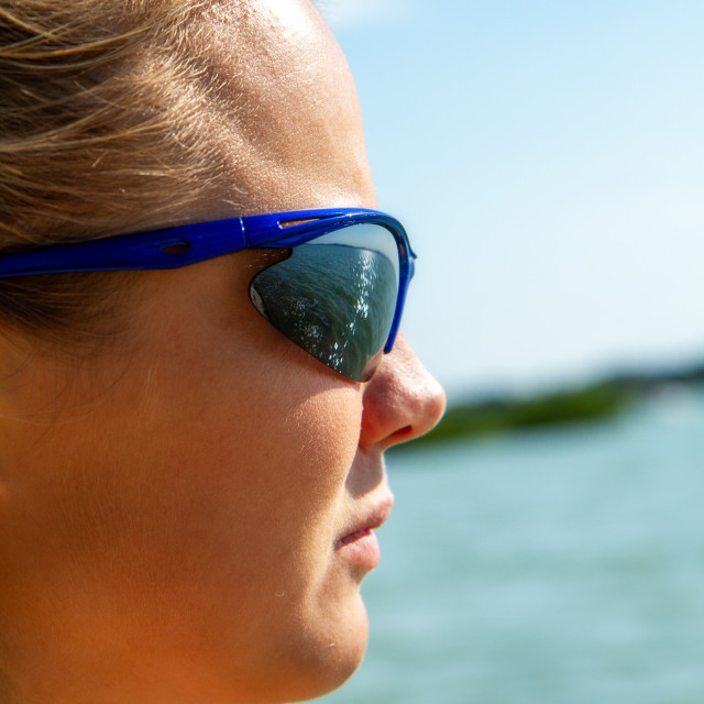 """""""Pretty girl with sunglasses in summertime in a sunny day"""" stock image"""