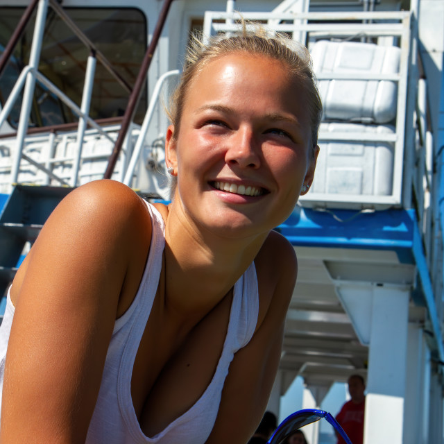 """""""Pretty girl in summertime in a sunny day on the ferry"""" stock image"""