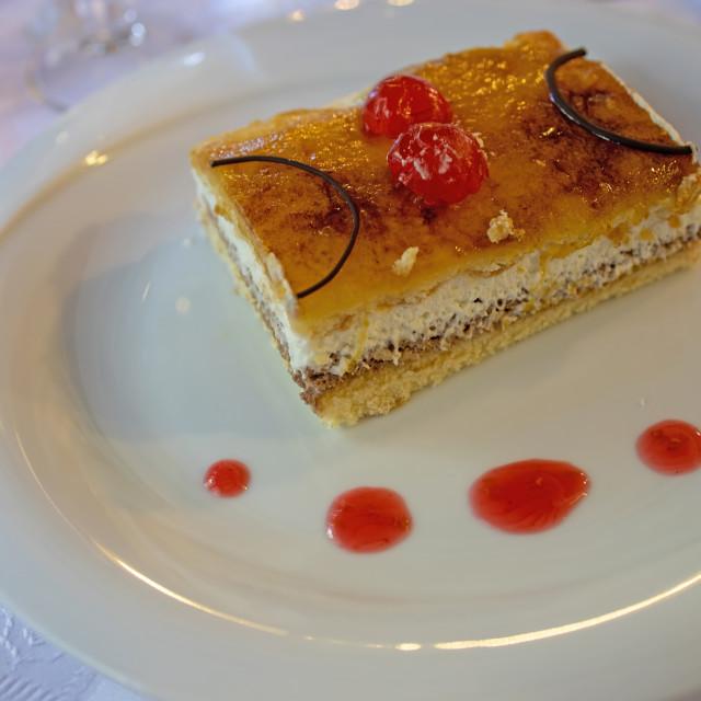 """Delicious cake Massini in a Spanish restaurant"" stock image"