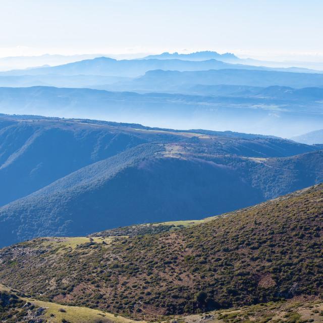 """Beautiful mountain effect from Spanish mountain Montseny"" stock image"