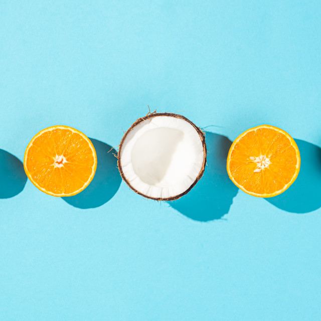 """Coconut, orange and lime fruits"" stock image"