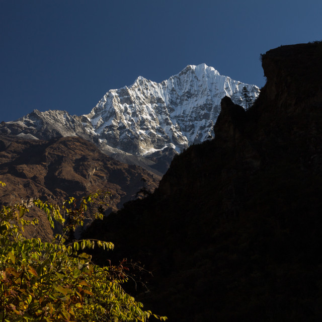 """Thamserku (6608m), the SW face"" stock image"