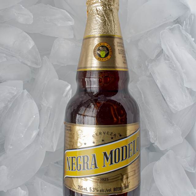 """Calgary, Alberta, Canada. May 20, 2020. A Mexican beer Negra Modelo bottle on a bed of ice"" stock image"