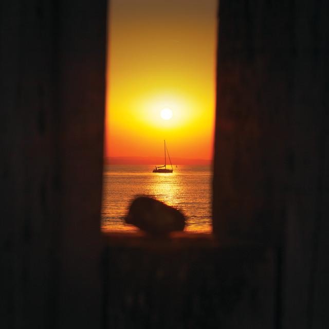 """Yacht at dawn"" stock image"