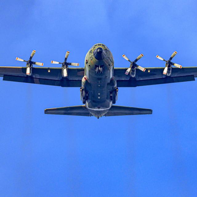 """C130 Hercules Landing"" stock image"