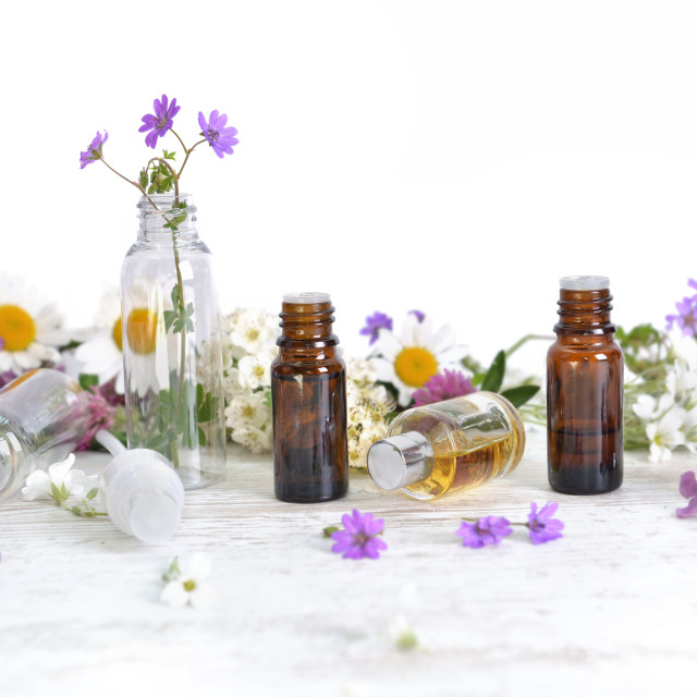 """""""bottles of essential oil and colorful petals of flowers on white"""" stock image"""