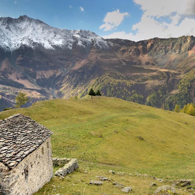 """beautiful landscape of alpine european mountain range in park la"" stock image"