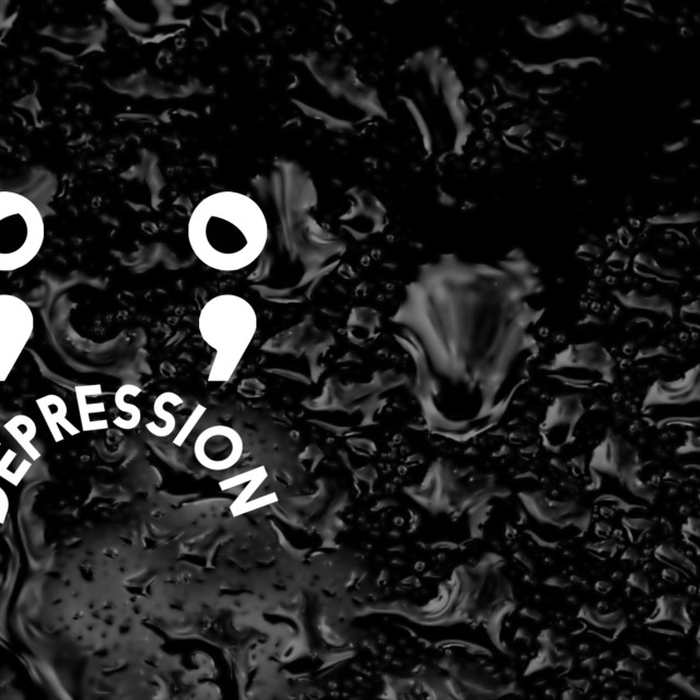 """A couple of animated semicolons that looks like a sad face with rain on the background. Depression concept."" stock image"