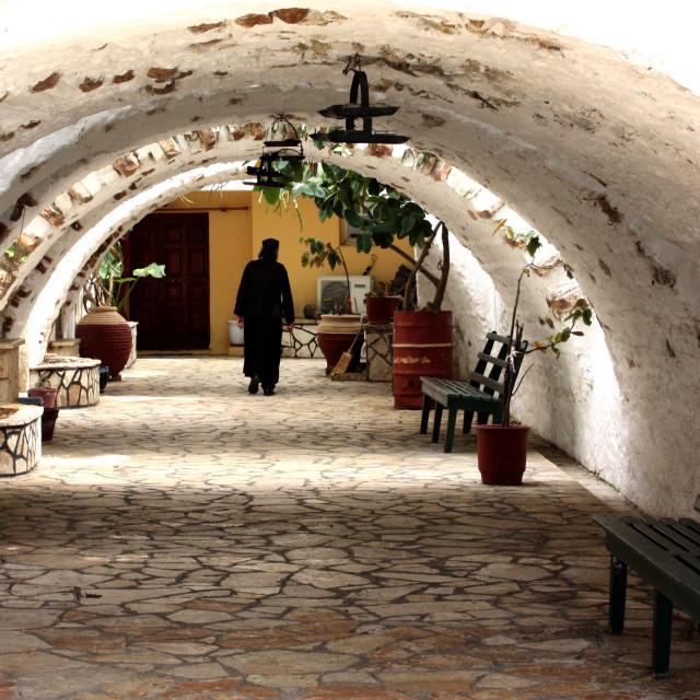 """Monk at the monastery in Palaiokastritsa, Corfu"" stock image"