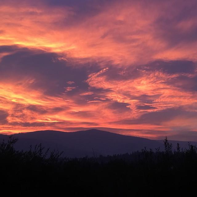 """Sunset on the Blackfoot Valley"" stock image"