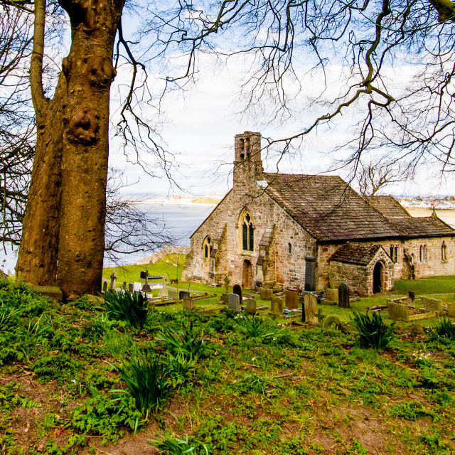 """St Peters Parish Church, Heysham, between the trees"" stock image"