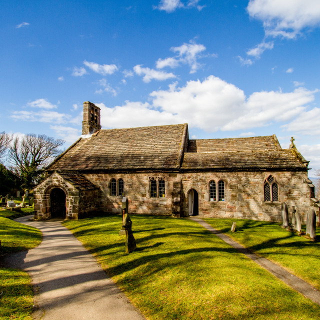 """St Peters Parish Church, Heysham, entrance."" stock image"
