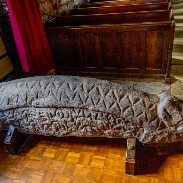 """Hogback Stone at St Peter's Church, Heysham"" stock image"