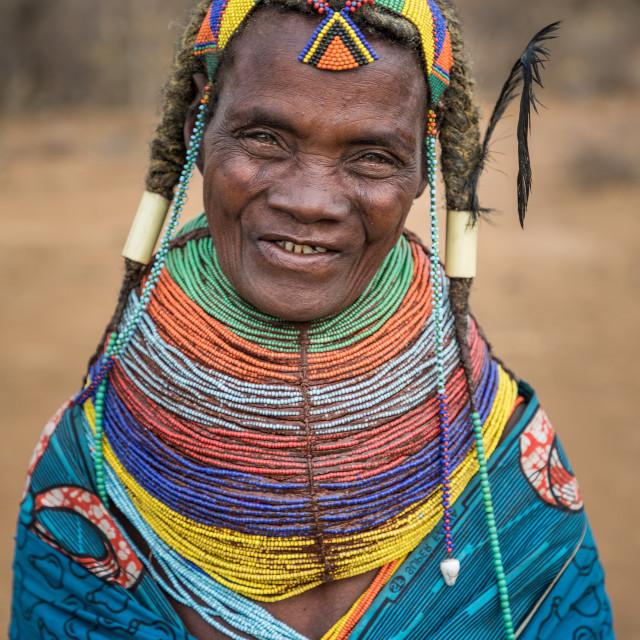 """""""Mwila woman in a village near Mukuma (Angola)."""" stock image"""
