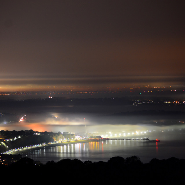"""Sandown Bay and Pier as the Fog Rolled in..."" stock image"