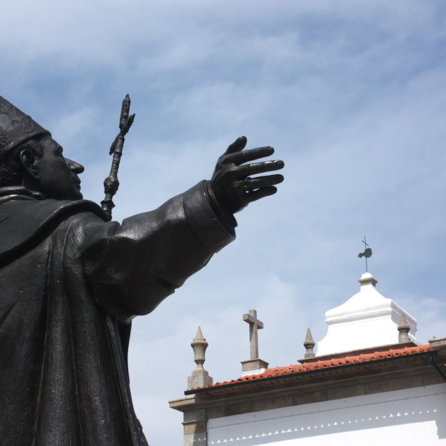 """Braga, Portugal - Statue of Dom Frei Bartolomeu Dos Martires"" stock image"