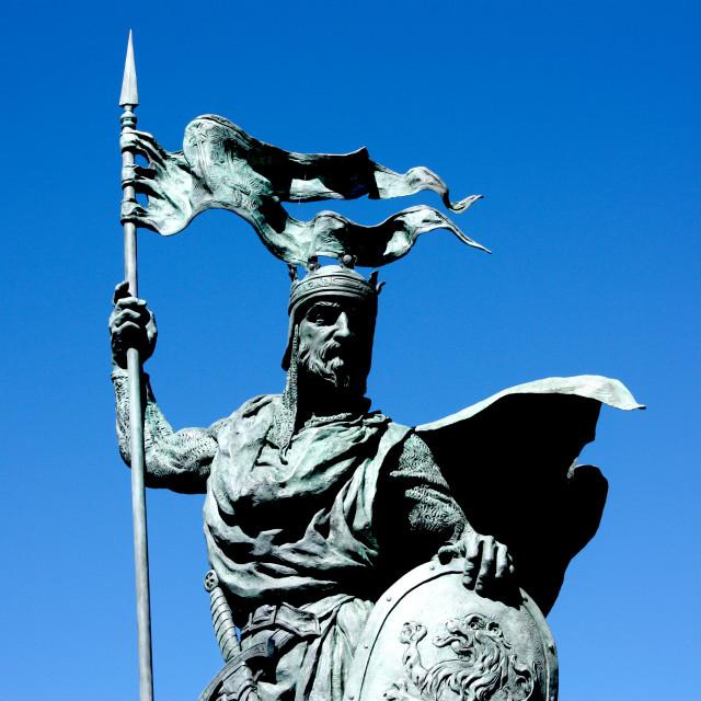 """Leon, Spain - Statue of Alfonso IX, King of Leon"" stock image"