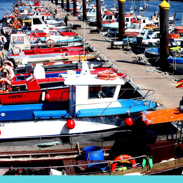 """""""Fishing boats at Cangas in Spain"""" stock image"""