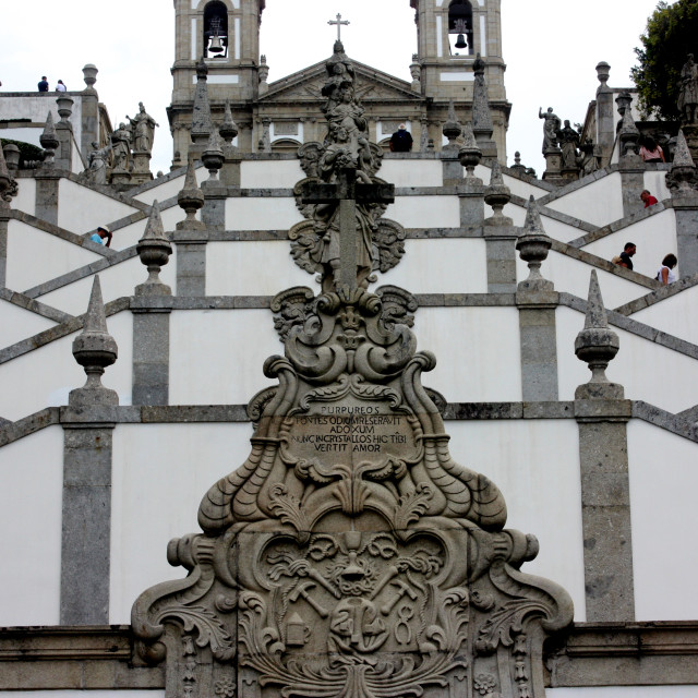 """""""Braga, Portugal - The staircase of the five senses at the Bom Jesus do Monte Church"""" stock image"""