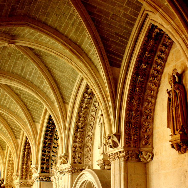 """""""Burgos, Spain - Cloisters in the cathedral- ceiling"""" stock image"""