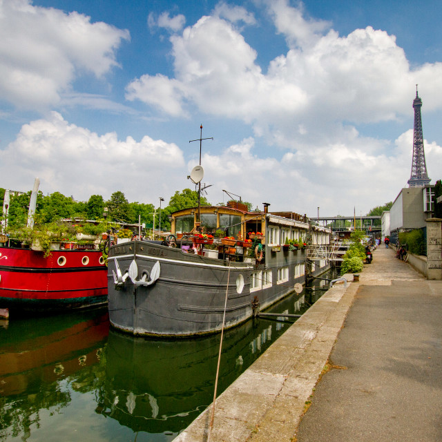 """Paris, River Seine Barge, Restaurants and Bars."" stock image"
